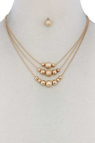 Metal Bead Layered Necklace