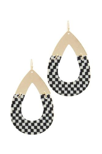 Half Metal Half Pattern Teardrop Shape Earring