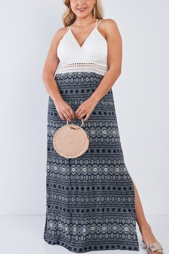Plus Size Navy V-neck Lace Crochet Detail Criss Cross Back Maxi Dress