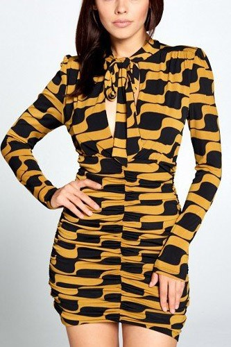 Long Sleeve Front Tie Mini Dress