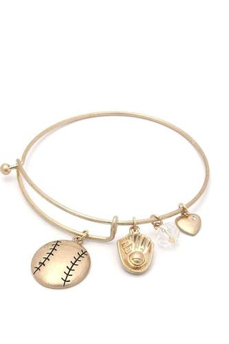 Baseball Charms Inspirational Bangle Bracelet