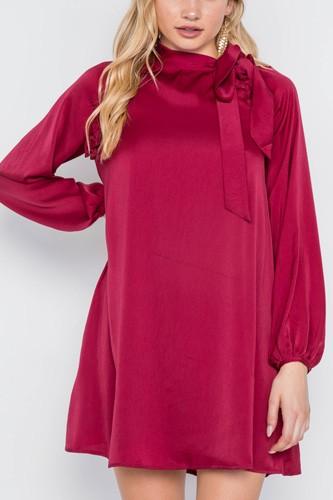 Satin Long Sleeve Side-tie Mini Dress