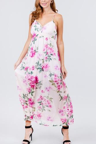 Deep V-neck W/cross Strap Print Maxi Dress