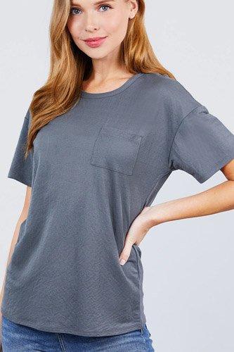 Short Sleeve Round Neck One Pocket Box Knit Top