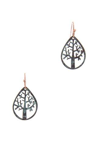Oak Tear Drop Shape Earring