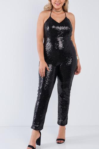 Plus Size Sequin V-neck Criss Cross Open Back Bodycon Jumpsuit