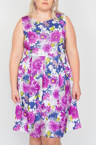 Plus Size Purple Navy Watercolor Floral Print Casual Midi Dress