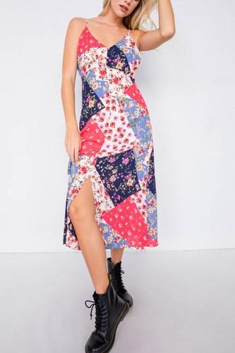 Multi Floral Center Slit V-neck Sun Midi Dress