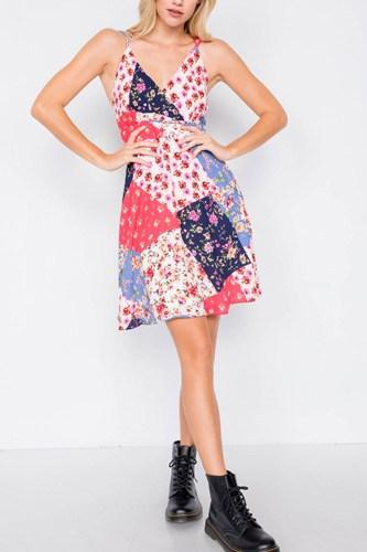 Multi Floral Print Fit & Flare Skater Mini Dress