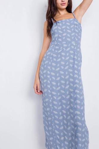 Feather Floral Print Square Neck Accordion Cami Dress