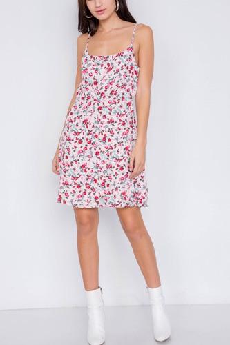 Blush Magenta Sky Blue Boho Floral Vintage Fit & Flare Neck Mini Dress