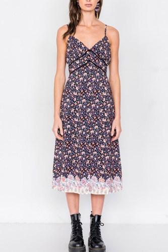 Black Multi Floral Print Mini Slit Midi Dress