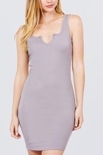 Sleeveless Deep Round V-shape Neck Heavy Rib Mini Dress