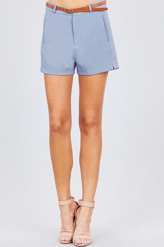Front Slit Hem W/pocket And Belt Short Pants
