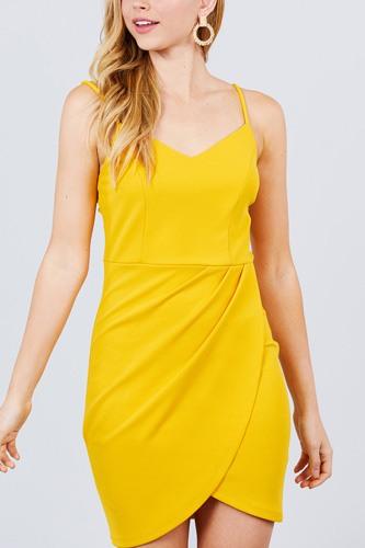 Cami Strap V-neck Wrapped Knit Mini Dress