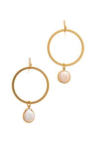 Designer Modern Pearl Drop Hoop Earring