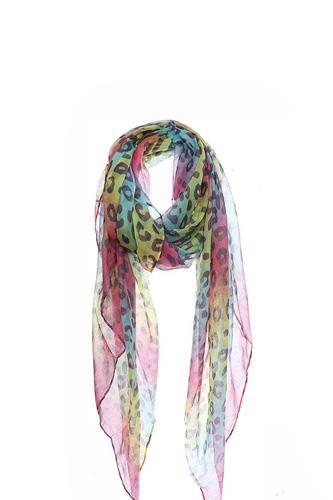 Fashion Rainbow Color Leopard Print Scarf