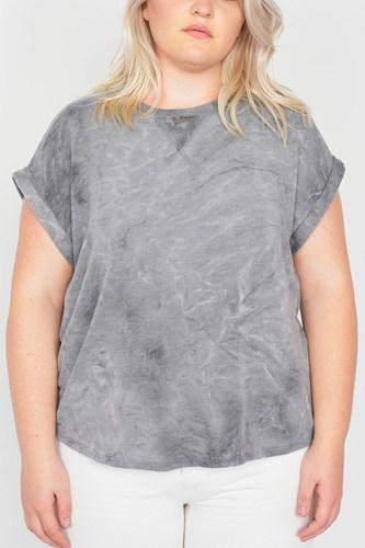 Plus Size Grey Sleeveless Basic U-shape Hem Top