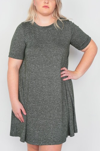 Plus Size Flare Casual Cuffed Short Sleeve Mini Shirt Dress