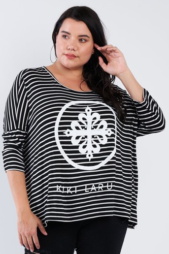 Plus Size Black White Stripe Scoop Neck Relaxed Fit