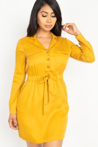 Rtn Bttn Belted Shirts Dress