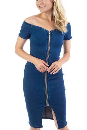 Off Shoulder Zip-front Denim Dress