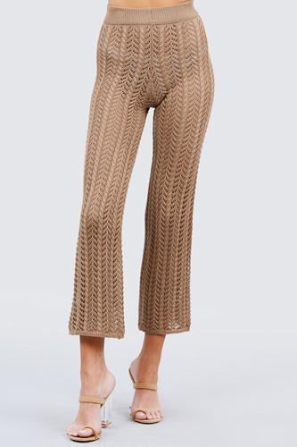 Flare Long Fishnet Sweater Pants