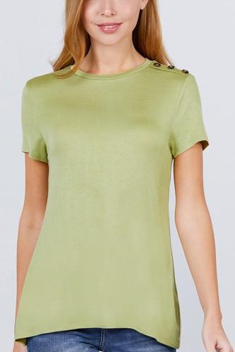 Short Sleeve Crew Neck W/shoulder Button Detail Rayon Spandex Top
