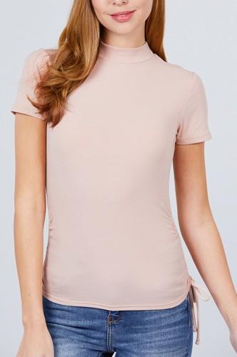 Short Sleeve Mock Neck Side Shirring Detail Rib Knit Top