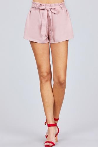 Paper Bag W/bow Tie Short Linen Pants