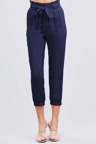 Paperbag W/bow Tie Elastic Hem Long Linen Pants