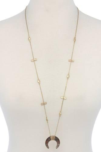 Stone Crescent Moon Pendant Necklace