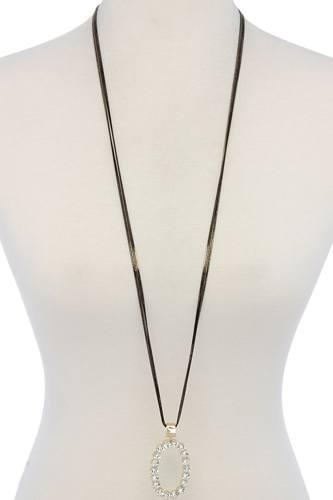 Rhinestone Oval Shape Pendant Necklace