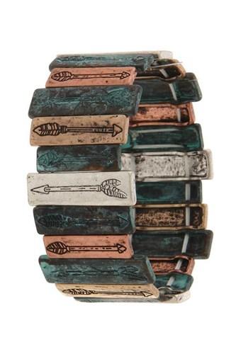 Rectangular Metal Bar Arrow Engraved Stretch Bracelet