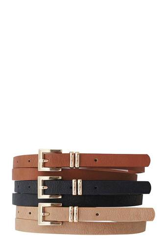 3 Pc+u2:u130s. Stylish Angled Buckle Skinny Belts