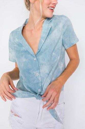 Blue V-neck Front Knot Short Sleeve Tie Dye Crop Top