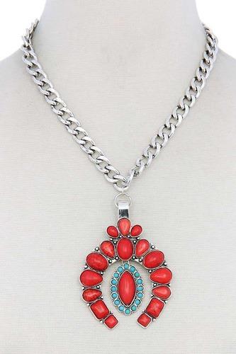 Multi Stone Pendant Necklace
