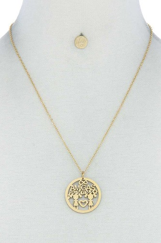 Amigas Forever Pendant Necklace And Earring Set