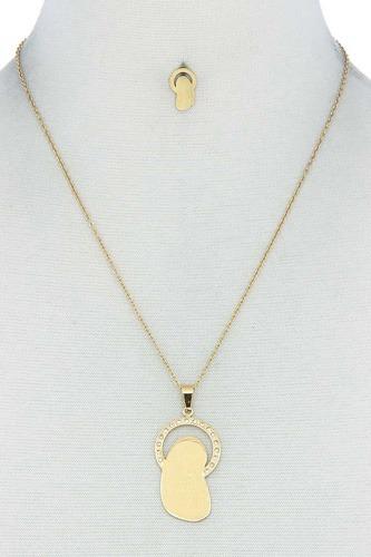 Fashion Stylish Mary Pendant Necklace And Earring Set