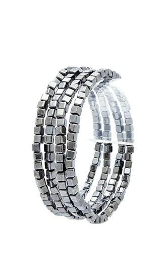 Stylish 4 Layer Square Bead Bracelet