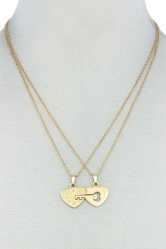 Double Heart Key Necklace Set