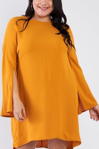 Plus Size Retro Chic Full Slit Sleeve Mini Dress