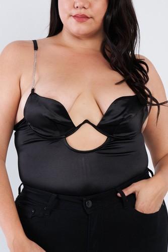 Plus Size Silk Chain Spaghetti Strap High Thong Center Cut Out Bodysuit