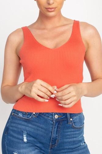 V Cut Sweater-knit Tank Top
