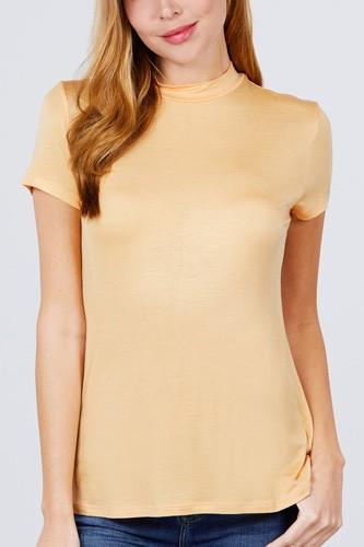 Short Sleeve Mock Neck Rayon Spandex Rib Top