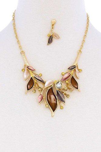 Stylish Multi Rhinestone Leaf Necklace And Earring Set