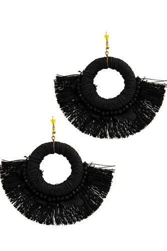 Stylish Feather And Fan Tassel Earring