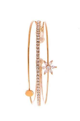 Fashion Triple Layer Rhinestone Flower Bracelet