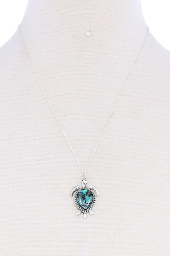 Fashion Trendy Turtle Charm Necklace And Earring Set