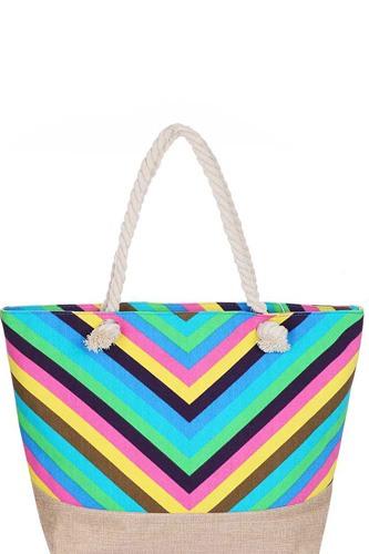 Stylish Rainbow Chevron Pattern Natural Shopper
